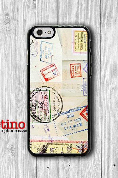 Passport Pump Stamp Travel Vintage iPhone 6 Case iPhone 6 Plus Phone Cove iPhone 5 5S iPhone 4 4S Plastic Wrapping Rubber Eco Friendly Case#1-96