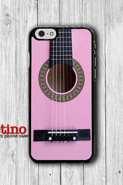 iPhone 6 Case Pink Folk Acoustic Guitar for Musician Phone 6 Plus, iPhone 5S Art iPhone 5 Case, iPhone 5C Case, iPhone 4S, iPhone 4 Handmade#1-103