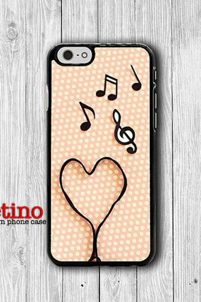 iPhone 6 Case - Music Heart Lover Note Pink Polkadot Phone 6 Plus Cases, iPhone 5, 5S, iPhone 4/4S Cover Personalized Custom Gift Accessory#1-104