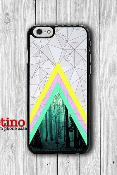 Geometric Abstract Triangle Forest iPhone 6 Cover, iPhone 6 Plus, iPhone 5 / 5S iPhone 5C Cases iPhone 4/4S Accessory Colorful Line Rubber#1-105