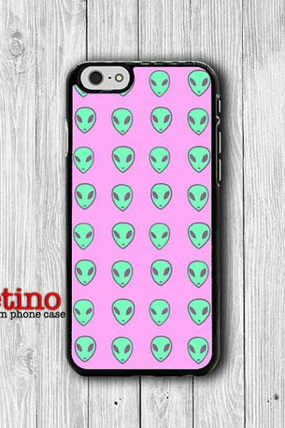 iPhone 6 Case - Mint UFO Alien With Pink Background Phone Cases, Space Hipster iPhone 5, 5S, iPhone 4, 4S Cover, Personalized Custom Gift#1-112
