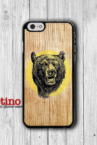 iPhone 6 Case Wood Grizzly Bear Head Drawing Phone 6 Plus Cases, Retro Plastic iPhone 5, 5S, iPhone 4, 4S Cover, Personalized Custom Gift#1-115