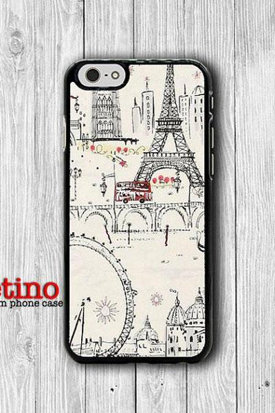 iPhone 6 Case Old Paris France Scenery Eiffel tower iPhone 6 Plus, iPhone 5S, iPhone 5 Case, iPhone 5C Case, Sweet Drawing iPhone 4/4S Case#1-127