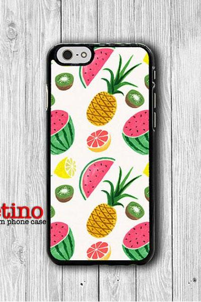 Tropical Fruit Watermelon Pineapple iPhone 6 / 6S Cover, Hawaii iPhone 6 Plus, iPhone 5S, iPhone 4S Funny Case, Rubber Deco Accessories Gift#1-130
