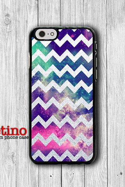 Grey White Glitter Chevron Galaxy Space iPhone Case - iPhone 6, iPhone 6 Plus, iPhone 5S, iPhone 5 Case, iPhone 5C, iPhone 4S Christmas Gift#1-131