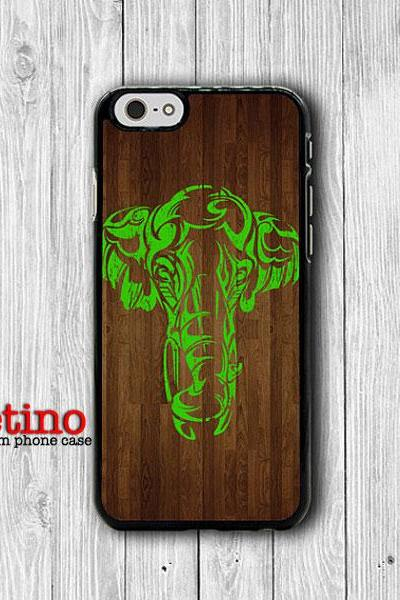 Mint Elephant Paint Wooden iPhone 6 Cases iPhone 6 Plus, iPhone 5/5S Case, iPhone 5C Case, iPhone 4/4S Case Hipster Printed Cell Phone Case#1-135